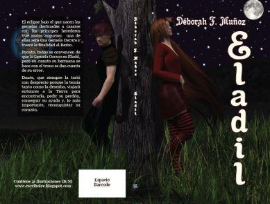Cubierta completa de novela corta ilustrada romántica paranormal Eladil, de la escritora Déborah F. Muñoz