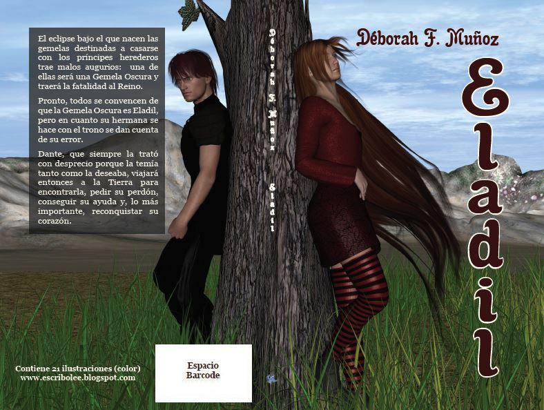 Cubierta completa de la novela corta ilustrada romántica paranormal Eladil, de la escritora Déborah F. Muñoz