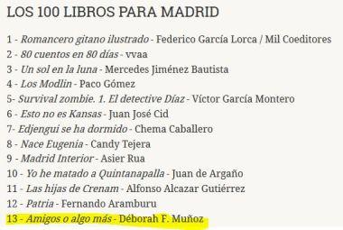 Amigos o algo más en los 100 libros para Madrid