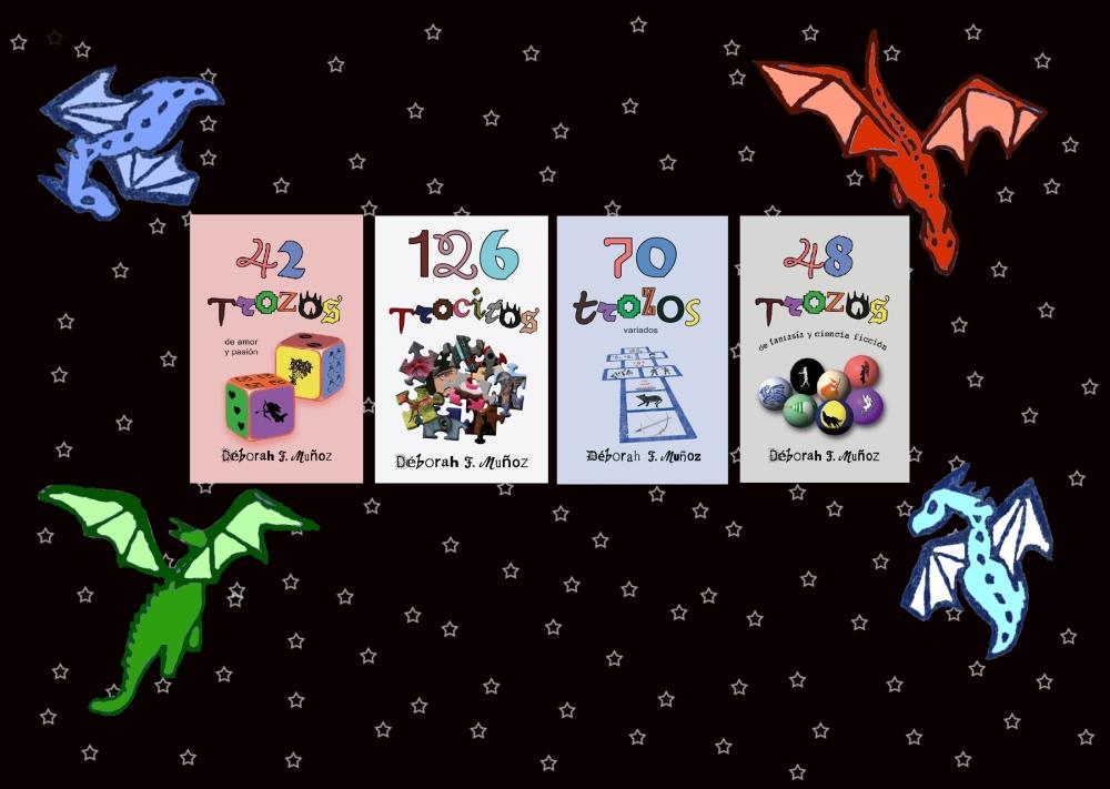 antologías de relatos 42trozos de amor y pasión, 70 trozos variados, 48 trozos de fantasía y ciencia ficción,126 trocitos