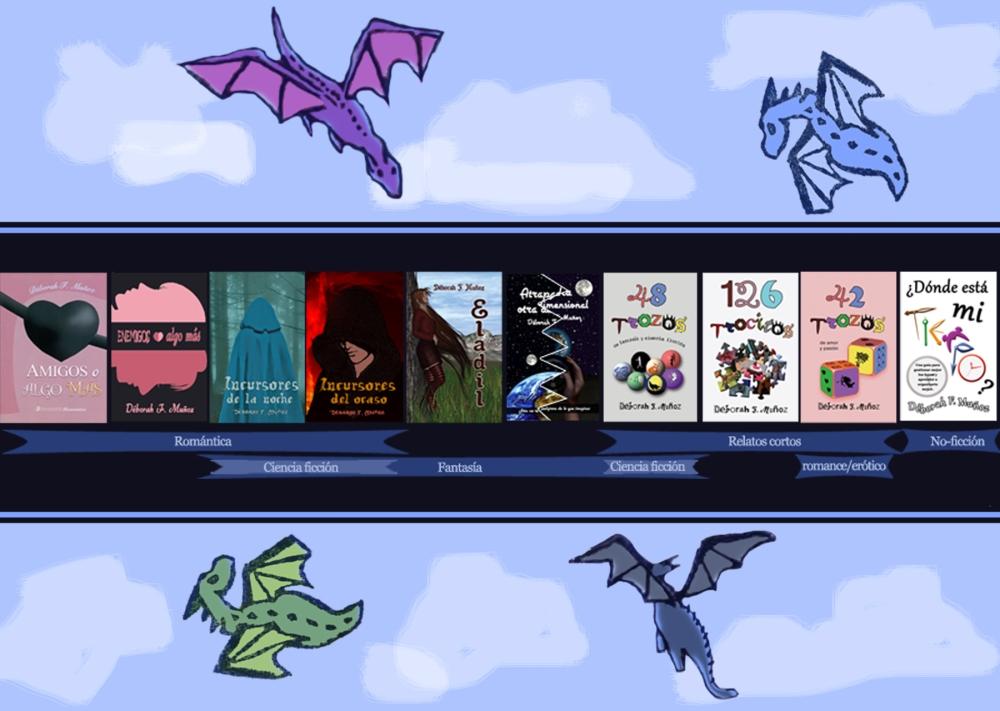 esquema con todas las novelas y libros de Déborah F. Muñoz