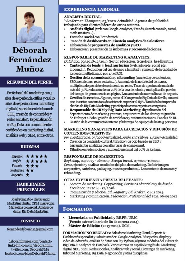 currículum de Déborah Fernández Muñoz